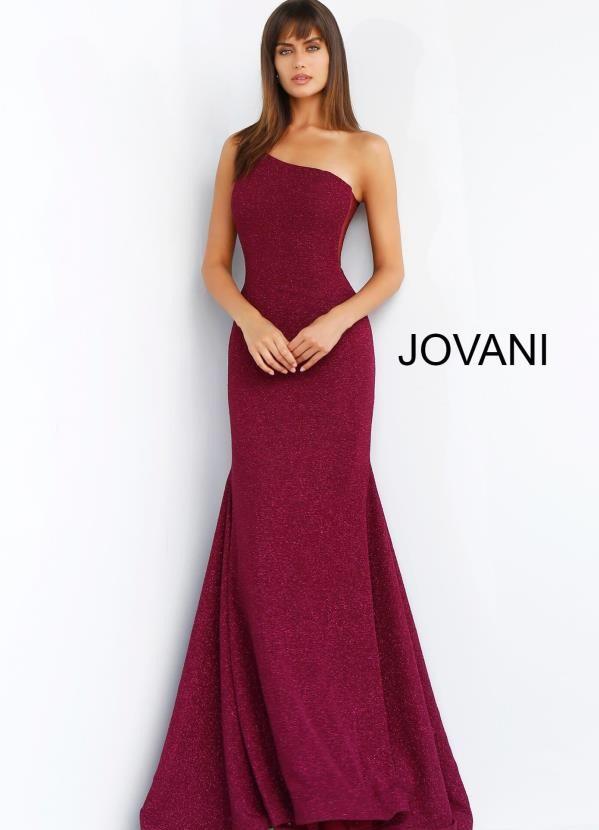 Jovani One Shoulder Wine Dress