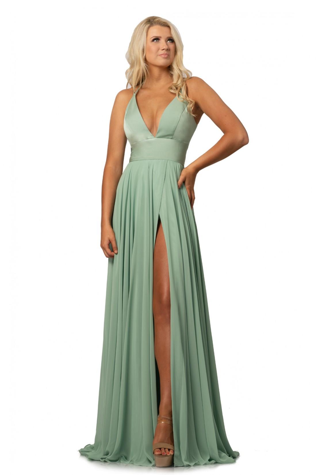 Johnathan Kayne Sage Green Deep V Dress