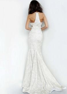 Jovani White Gold Glitter Jersey Dress - 00688