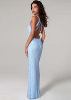 Scala Blue Beaded Gown 60113