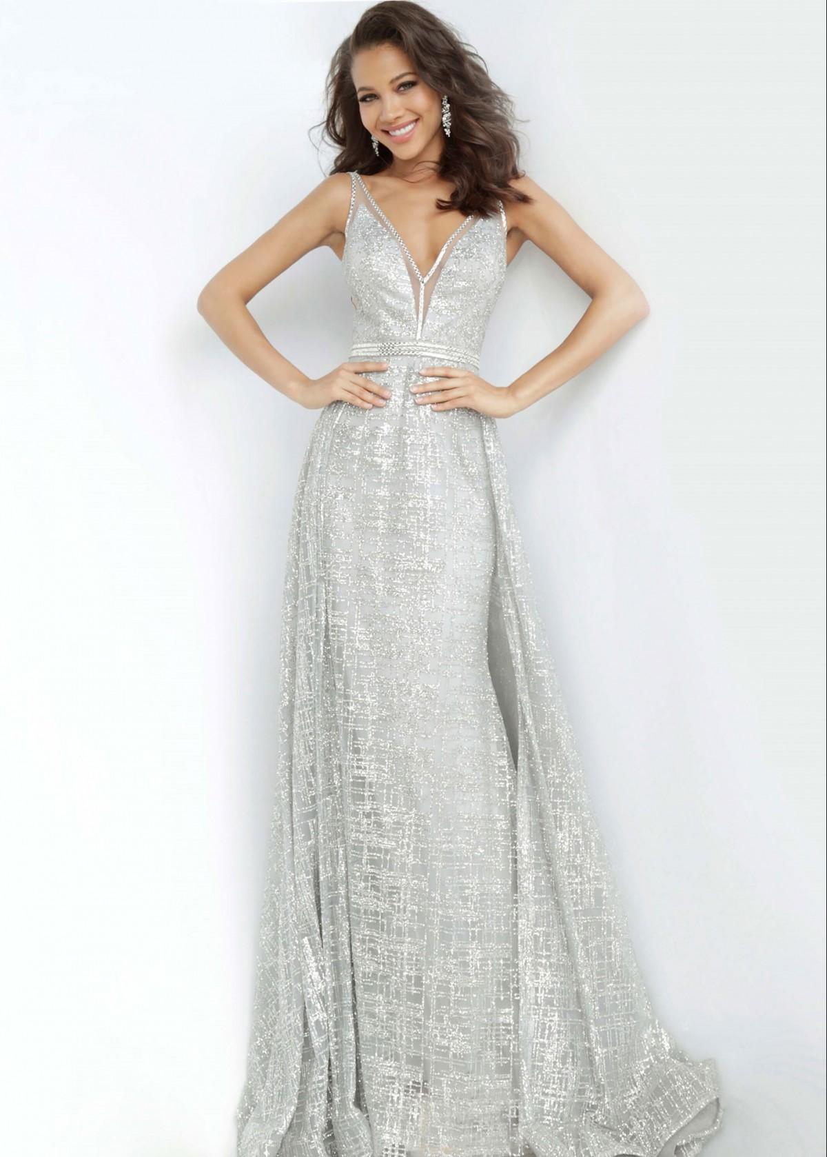 Jovani Silver Glitter Gown 62515