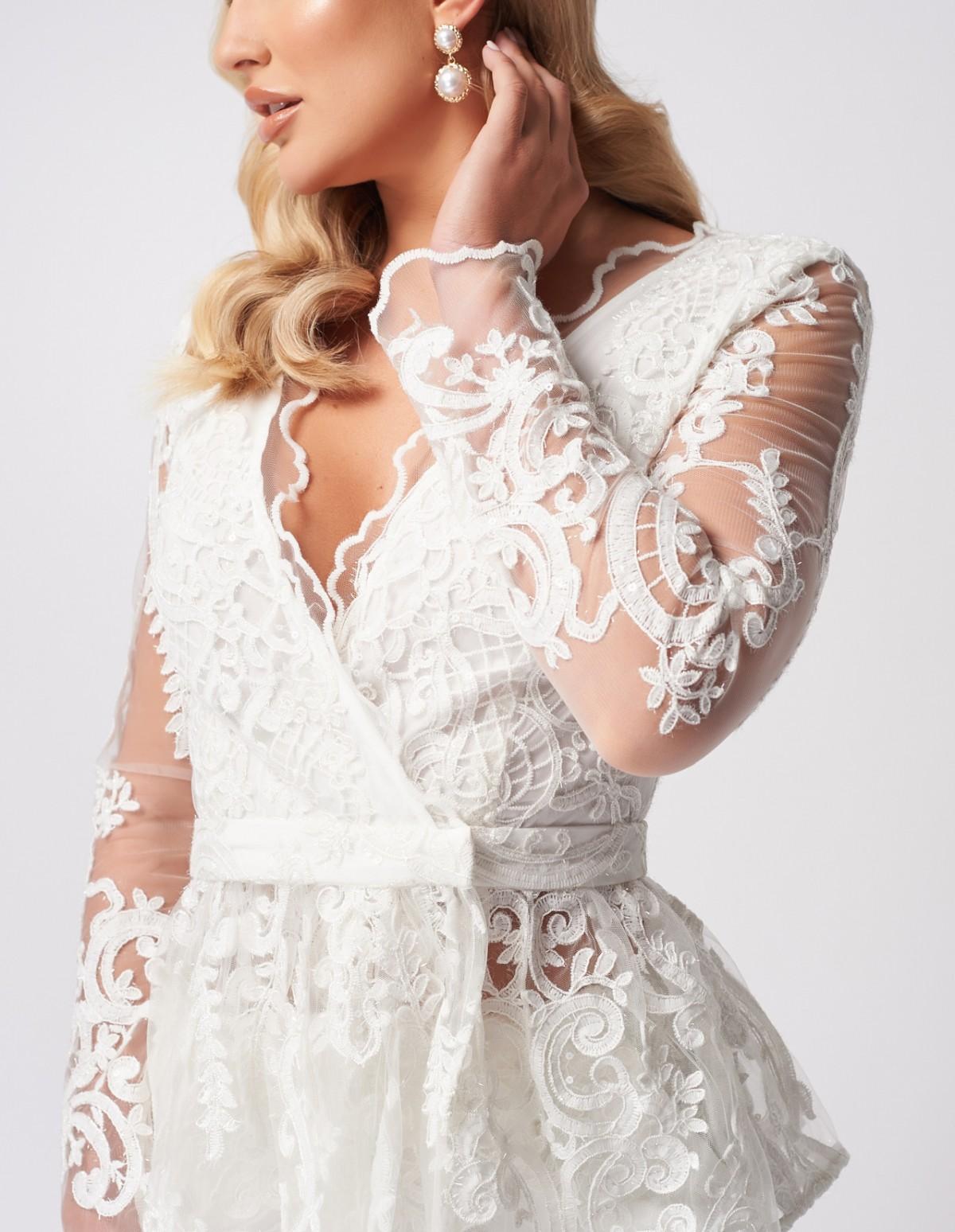 White Lace Suit Jacket by Forever Unique