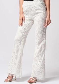 White Lace Suit Pants by Forever Unique