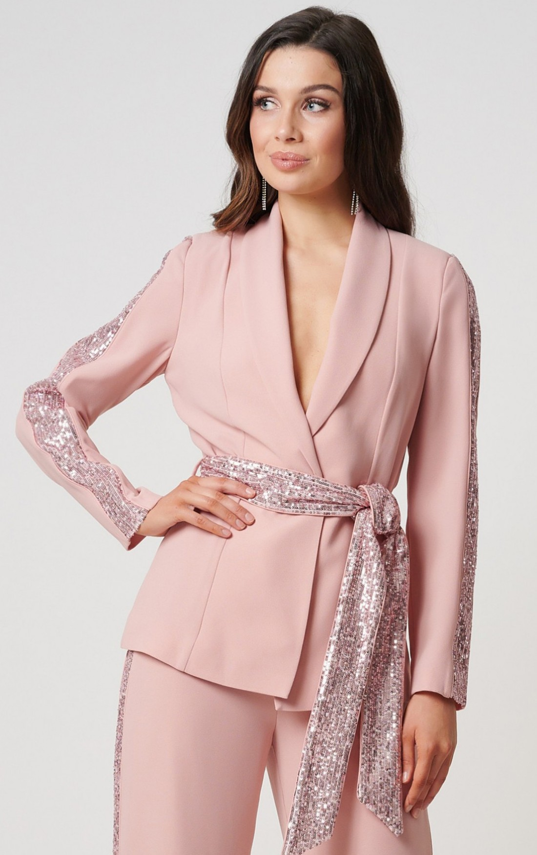 Nude Rose Sequin Suit Jacket by Forever Unique