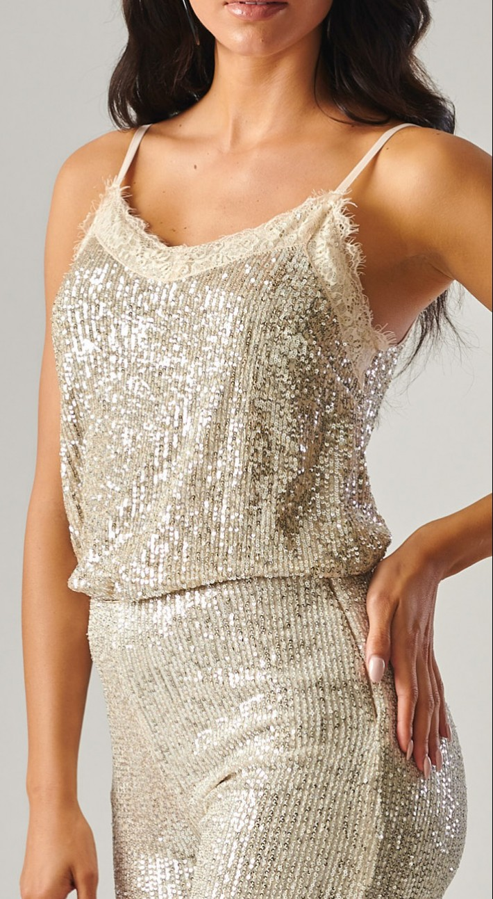 Silver Sequin Tank by Forever Unique