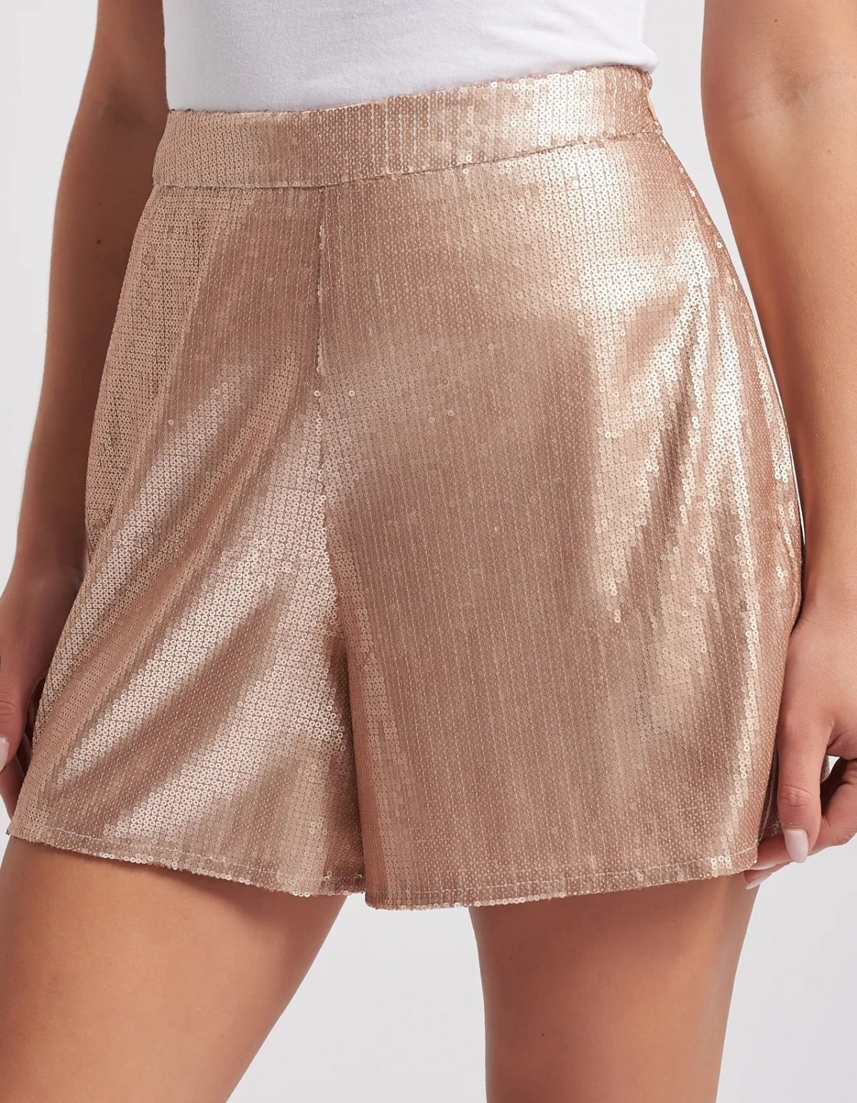 Nude Sequin Shorts by Forever Unique