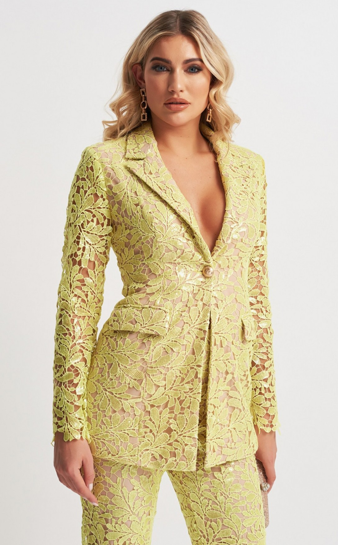 Sequin Lace Suit Jacket by Forever Unique