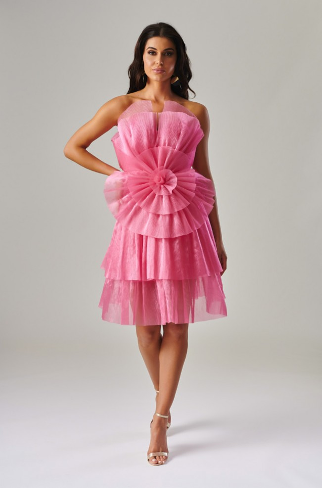 Pink Ruffle Cocktail Dress by Forever Unique
