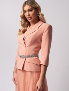 Coral Jacket with Bling Belt by Forever Unique