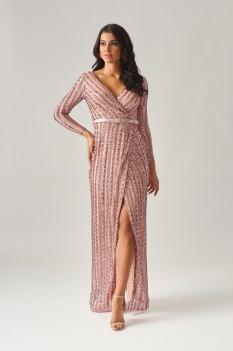Pink Sequin Striped Dress