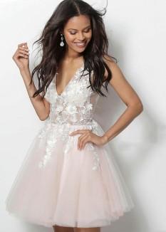 Jovani Floral Applique Dress 63987