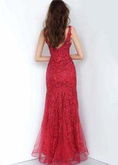 JVN by Jovani Wine Lace Dress JVN02319