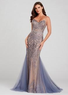 Ellie Wilde Sleeveless Glitter Gown EW120045
