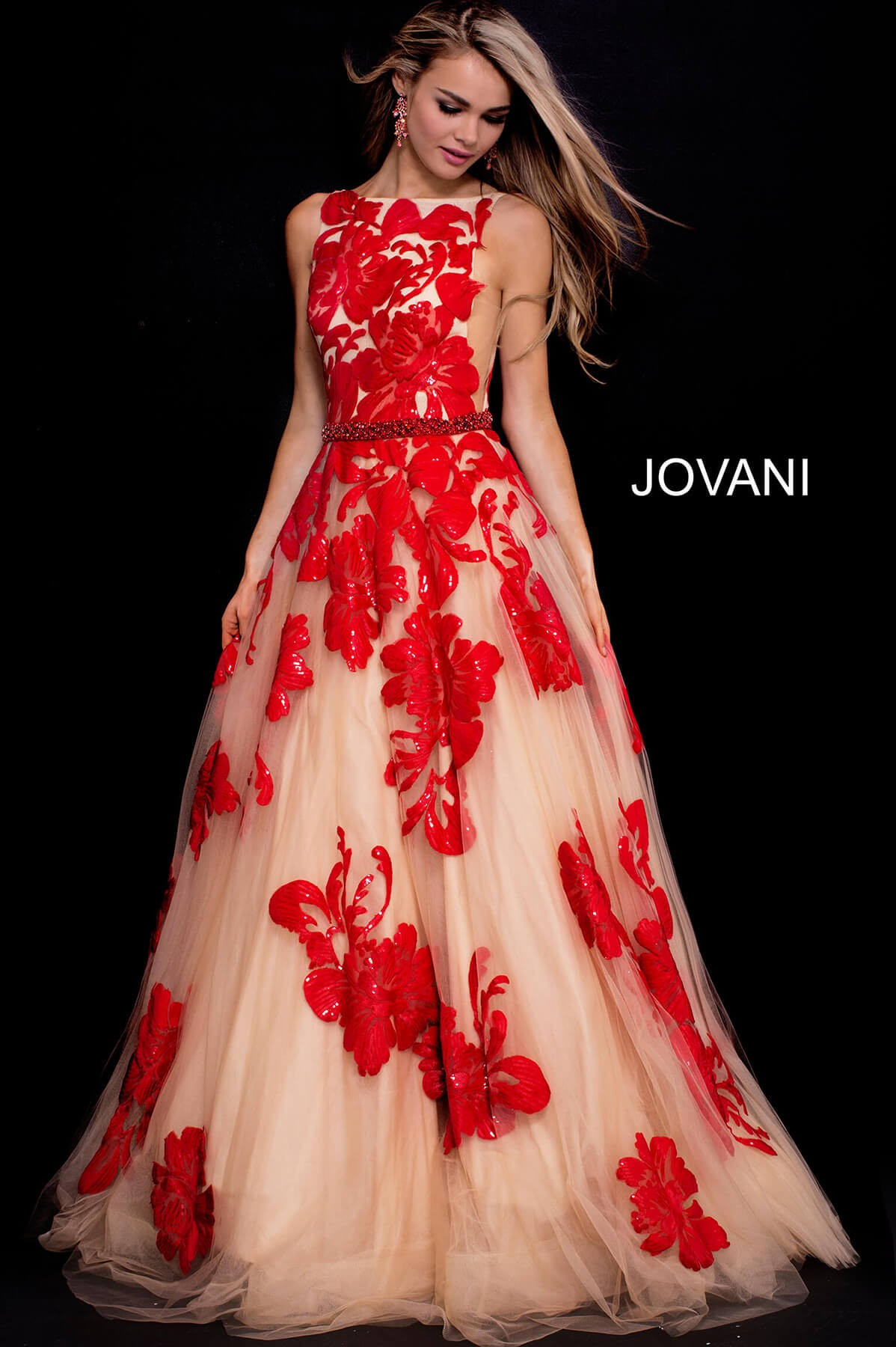 Jovani Nude Red Embellished Boat Neck 48320 (#24 in auction)