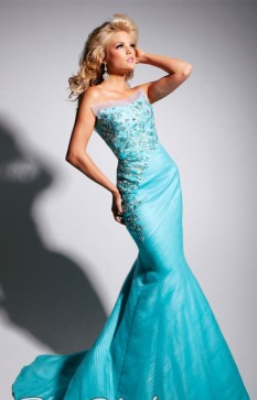 Tony Bowls Strapless Tulle Asymetrical Pleating TBE11301