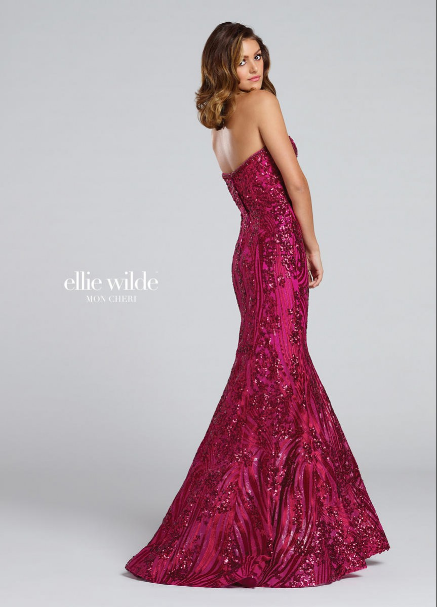Ellie Wilde strapless sequin and embroidered EW117042