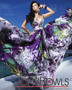Tony Bowls Strapless Printed Charmeuse Gown TBE11220B
