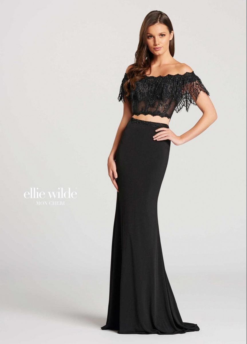 Mon Cheri off the shoulder jersey and lace  EW118017