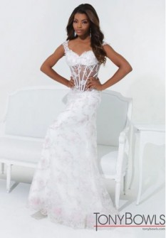 Tony Bowls off shoulder lace fit and flare 114528