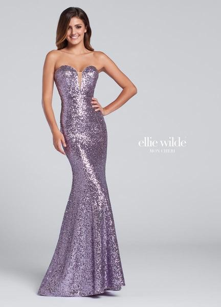 Ellie Wilde strapless sequin fit and flare EW117033