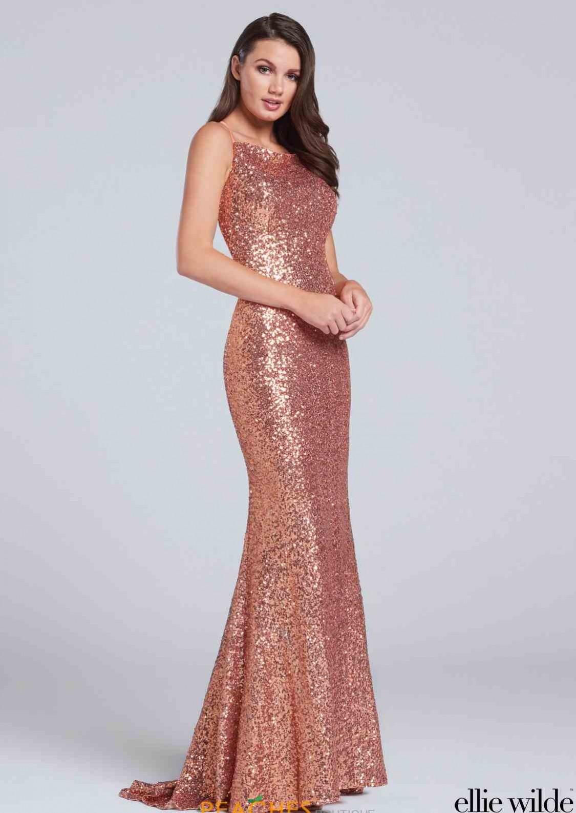 Ellie Wilde sequin gown with bateau neckline EW117115