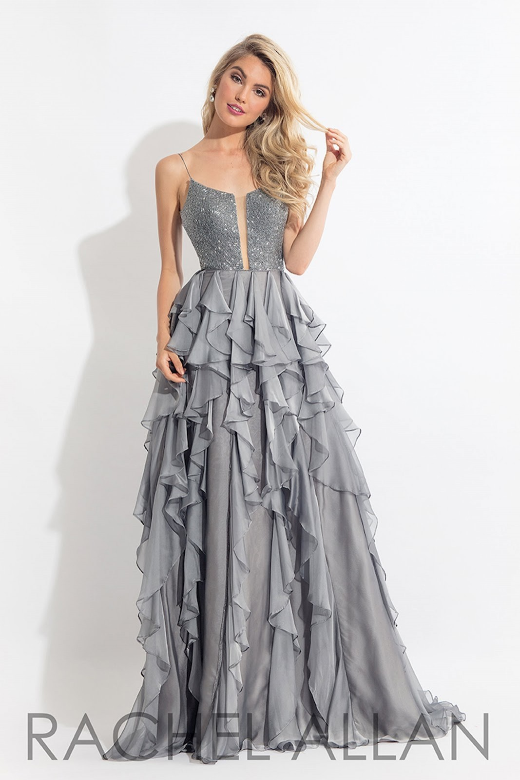 Rachel Allan Embellished top w/ ruffle skirt #6092