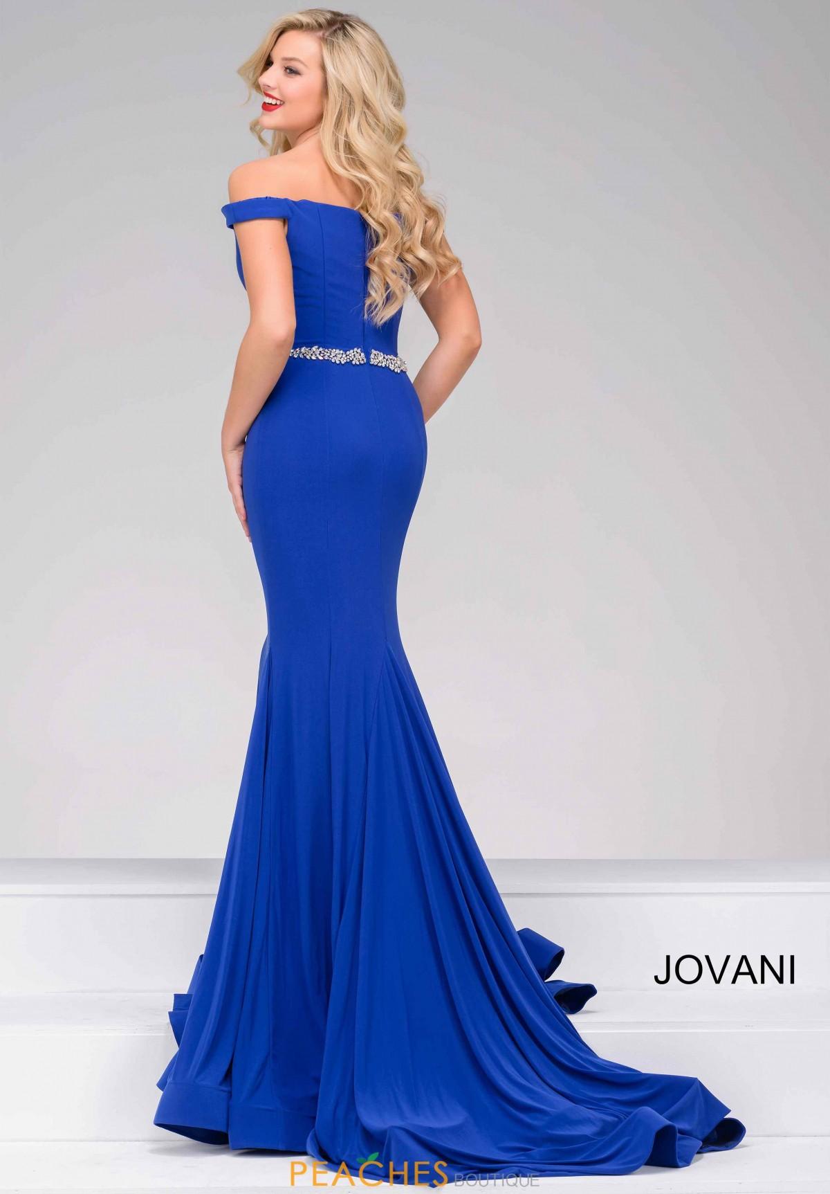 Jovani  Royal Blue beaded belt fitted 49254