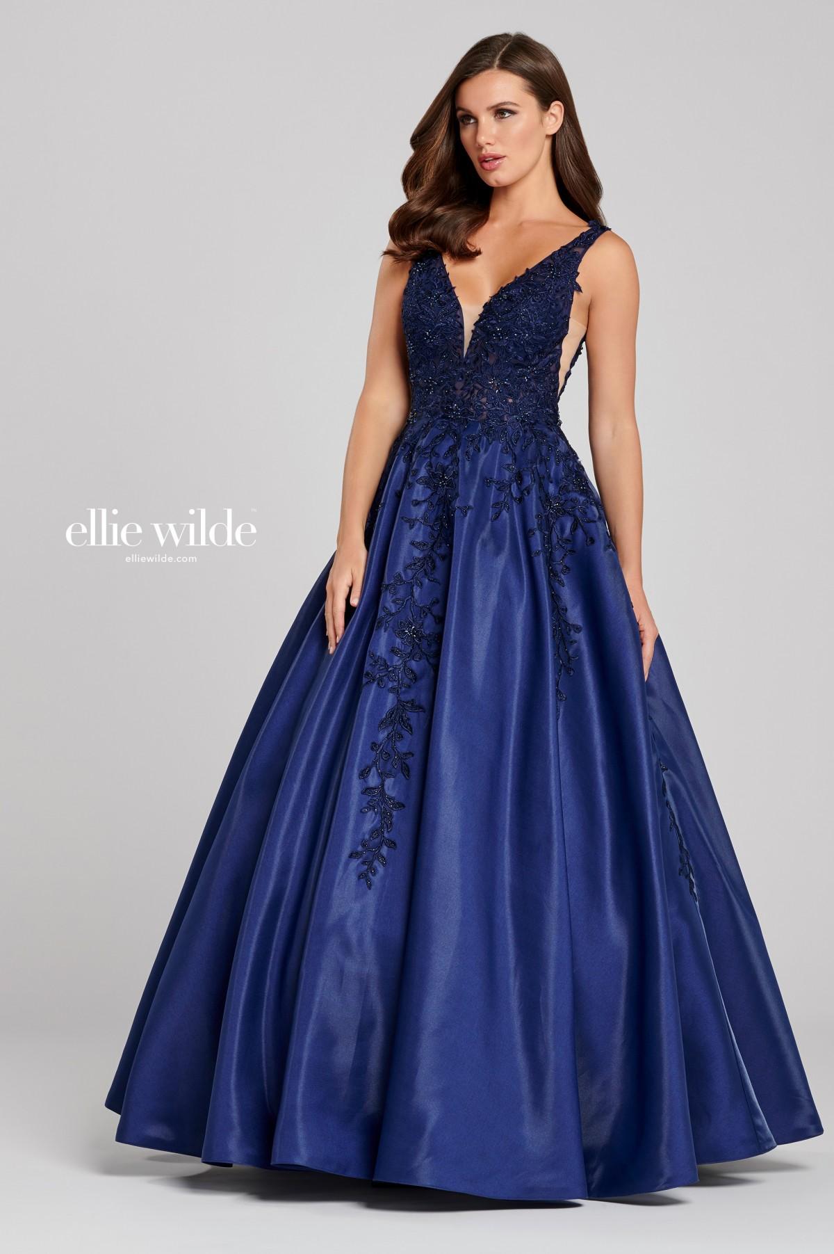 Ellie Wilde  Navy beaded lace ballgown 120115