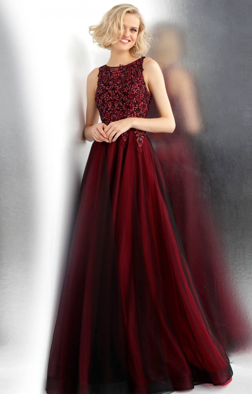 JVN Red/Black lace top ballgown 67782