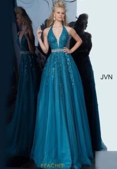 Jovani Teal beaded belt lace top ballgown 00923B