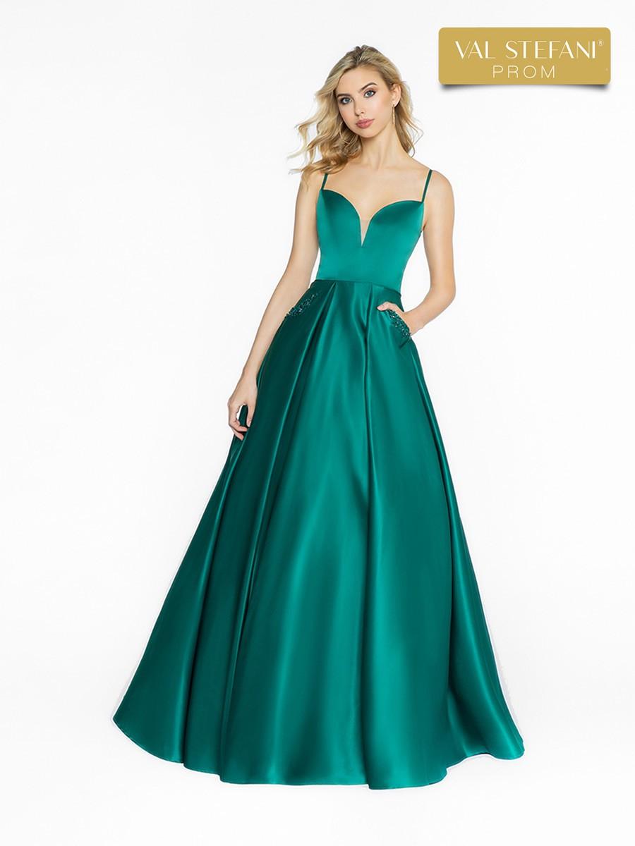Val Stefani Emerald beaded pockets caged back ballgown 3721RA