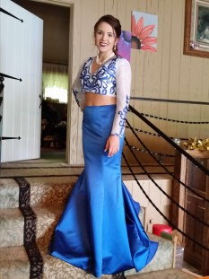 Two piece long sleeved blue & white gown