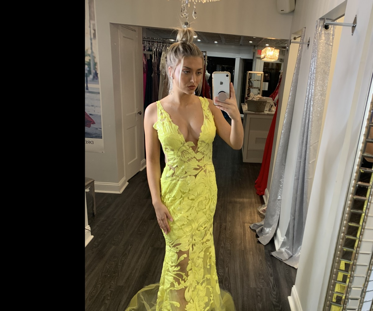 Yellow lace Jovani gown