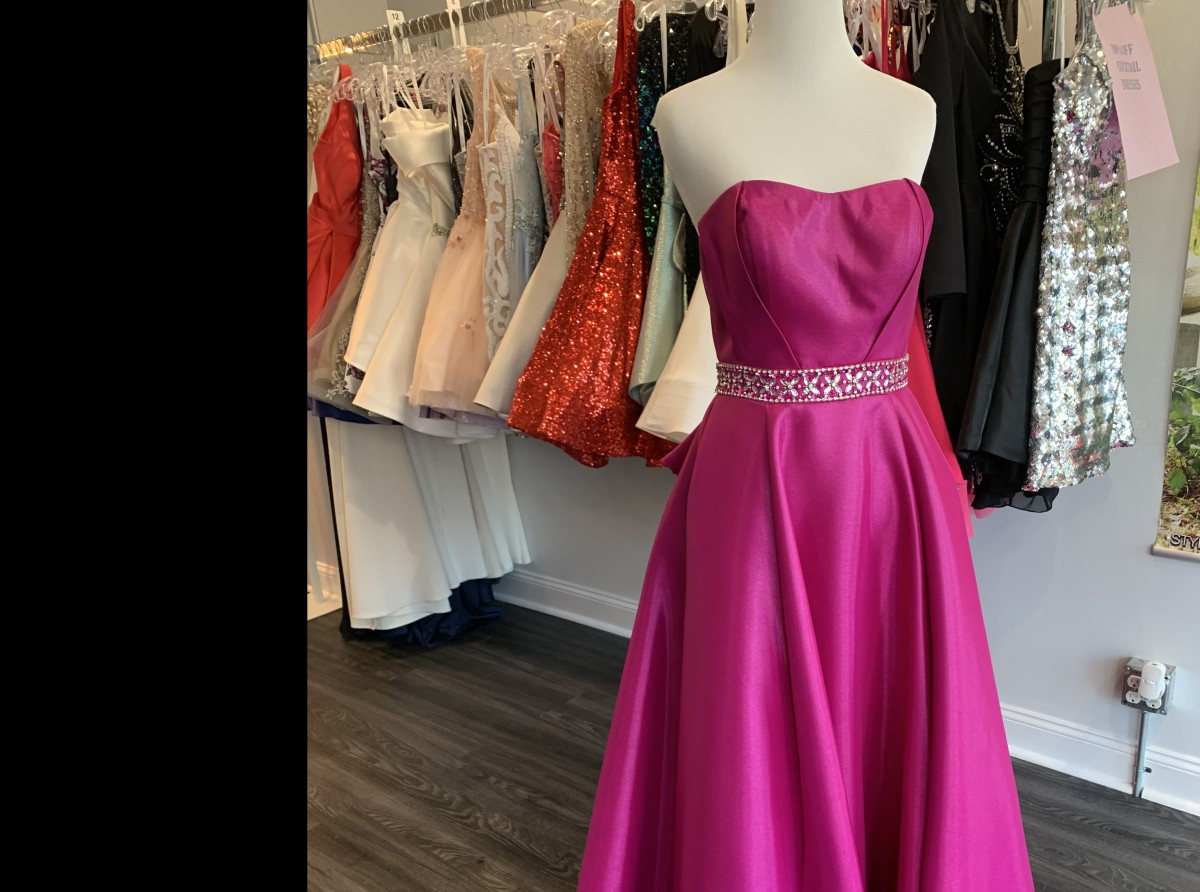 Magenta Ball gown with back ruffles -Splash