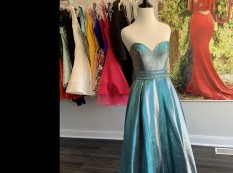 Strapless metallic blue ball gown - Angela and Allison