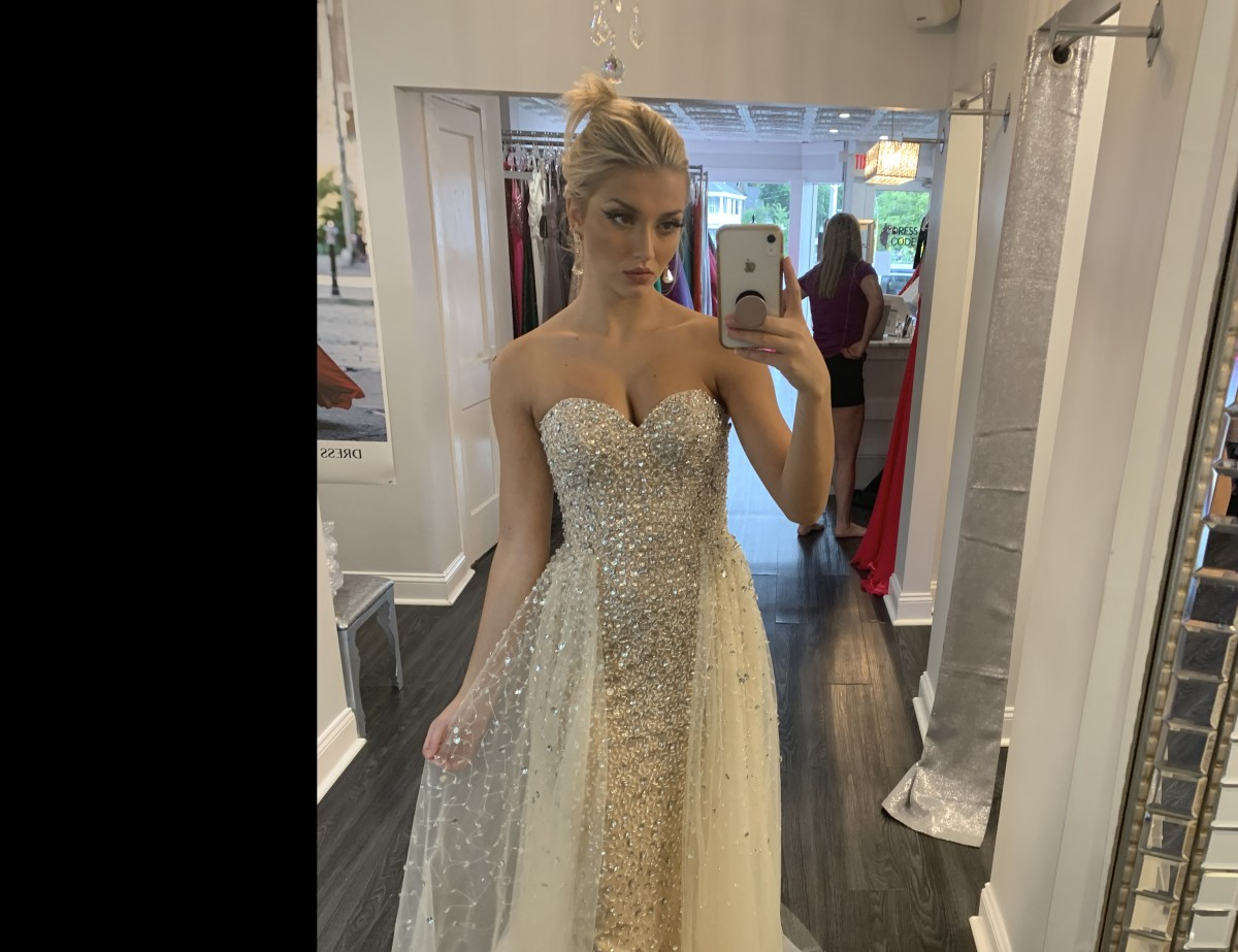 Stunning Crystal/Nude Terani pageant gown