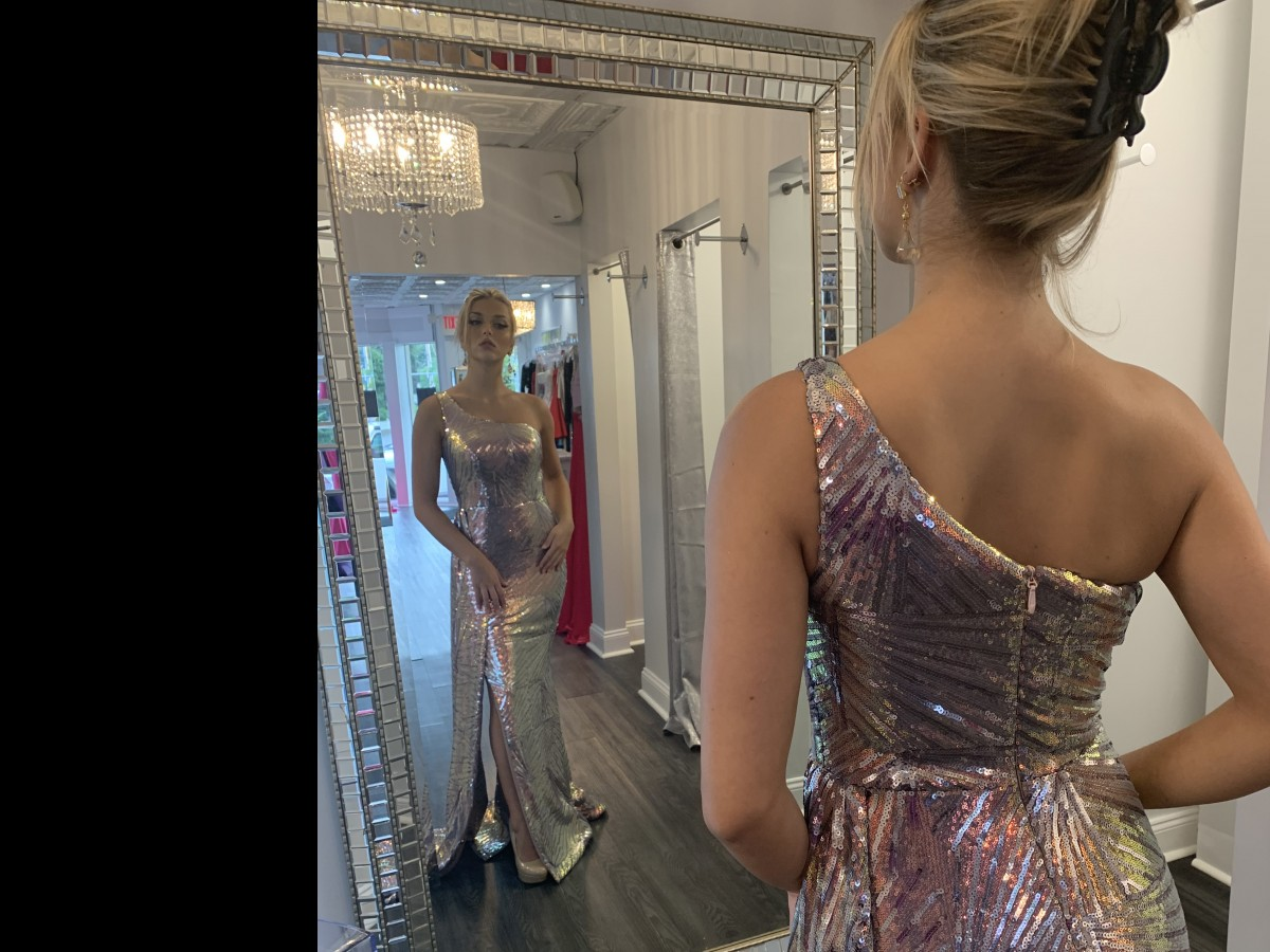 Portia and Scarlet Silver/Mauve sequin pageant gown