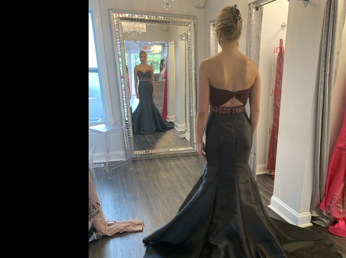 Two piece black and plum Jovani pageant gown