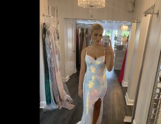 Stunning Pearl and Opalescent Portia and Scarlet pageant gown