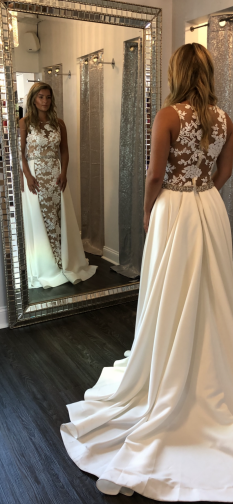 White/Nude Terani pageant gown with cape