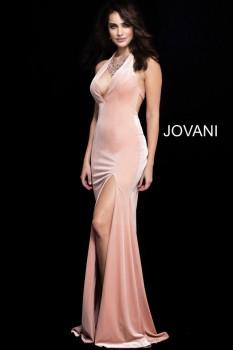 Peach Crushed Velvet Jovani Gown