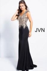 Jovani Black Cap Sleeve Fitted Embellished Bodice Prom Dress JVN48496