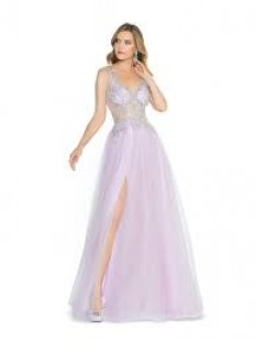 Val Stefani Full A-line with beaded V-neck bodice and tulle skirt 3789RB