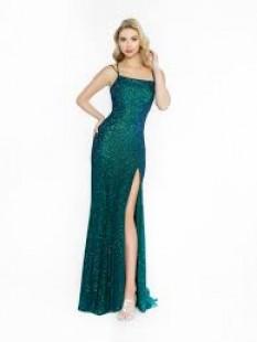 Val Stefani Glitter Tulle Mermaid Prom Dress With Leg Slit 3732RA