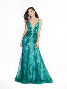Val Stefani Mermaid with lace and keyhole tie back in glitter print organza 3779RC