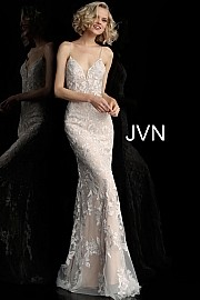Jovani Off White Nude Spaghetti Straps Backless Prom Dress JVN62330
