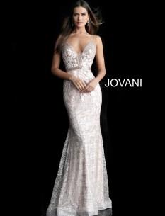 Jovani Embellished V Neckline Dress 62517
