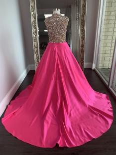 ASHLEY Lauren Kids Dress 8030 Girls Pageant Dress Hot Pink Size 10