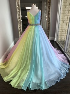 ASHLEY Lauren Kids Dress 8033 Girls Pageant Dress Multi Size 12 - Unicorn