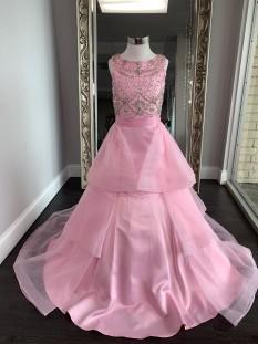 ASHLEY Lauren Kids Dress 8022 Girls Pageant Pink Size 10 W/ Detachable Train